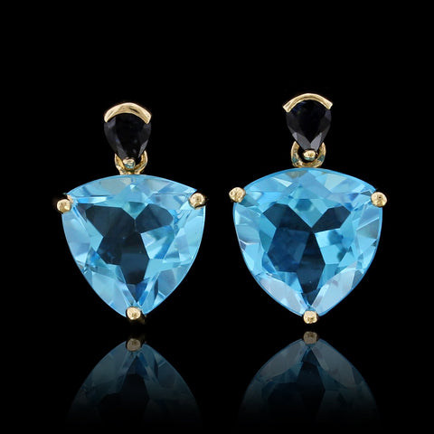 14K Yellow Gold Blue Topaz and Sapphire Earrings