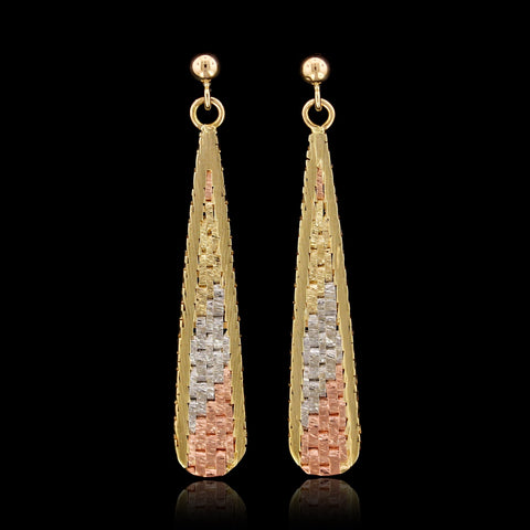 14K Tricolor Gold Drop Earrings
