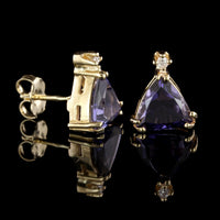 14K Yellow Gold Iolite and Diamond Earrings