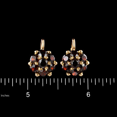 14K Yellow Gold Estate Garnet Earrings