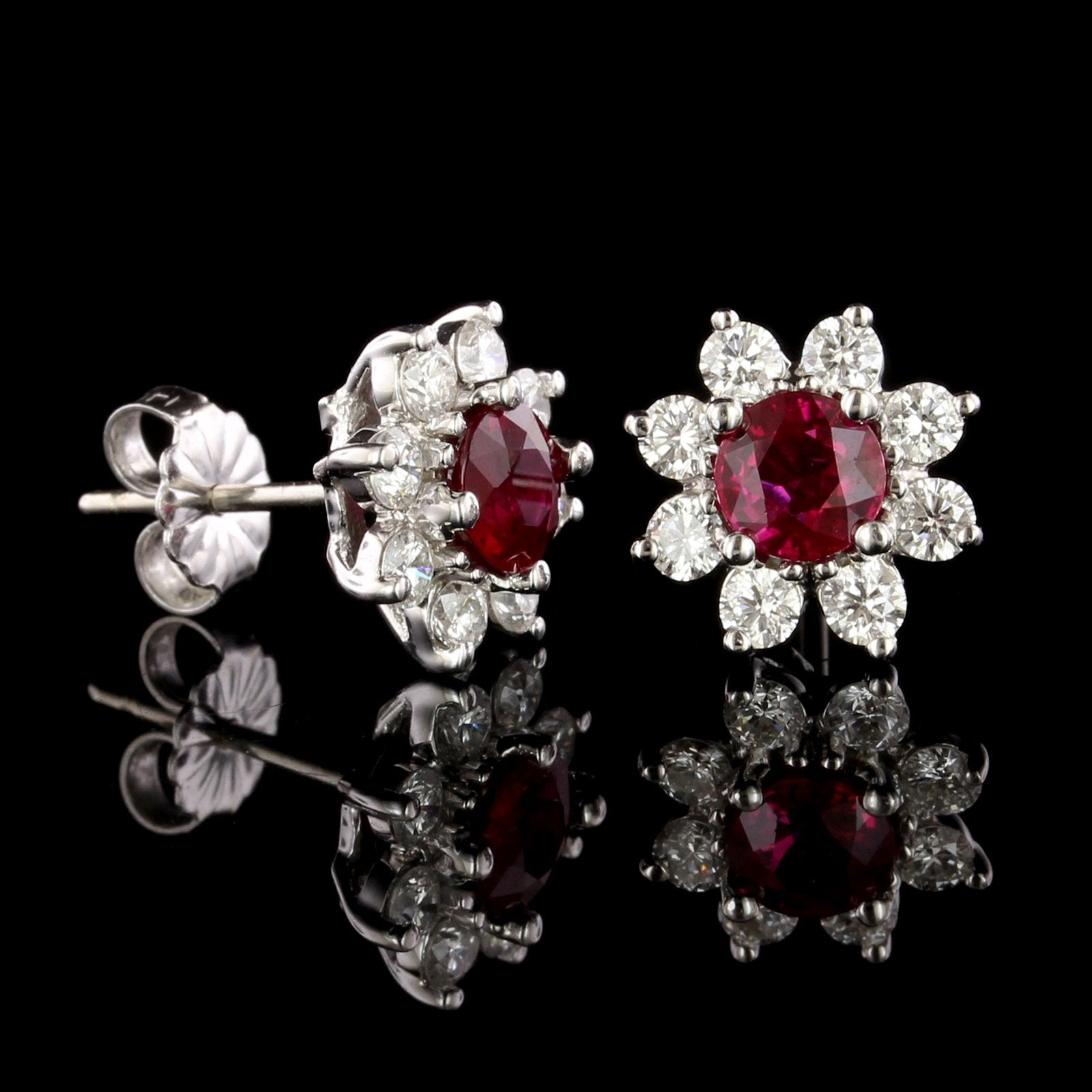 18K White Gold Ruby and Diamond Earrings