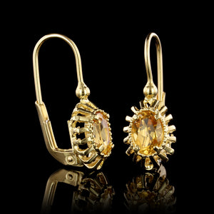 14K Yellow Gold Estate Citrine and Diamond Earrings