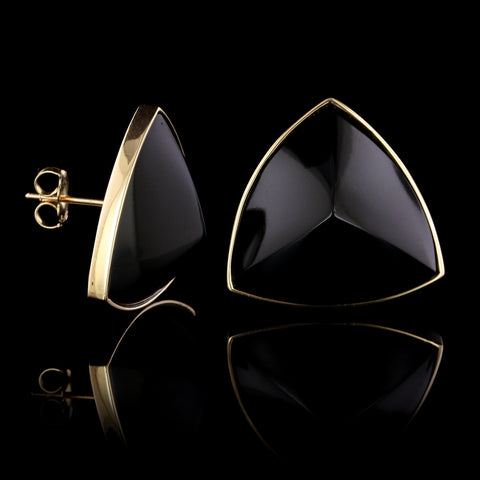 14K Yellow Gold Estate Onyx Earrings