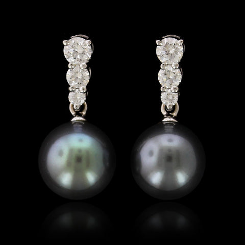 Mikimoto 18K Yellow Gold Cultured Black South Sea Pearl and Diamond Earrings