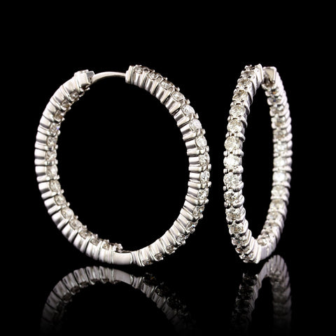 Roberto Coin 18K White Gold Diamond Inside Out Hoops