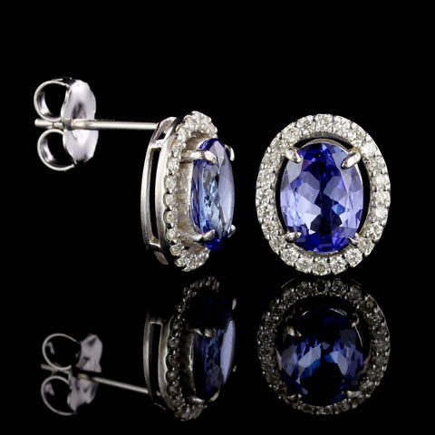 18K White Gold Estate Tanzanite and Diamond Earrings