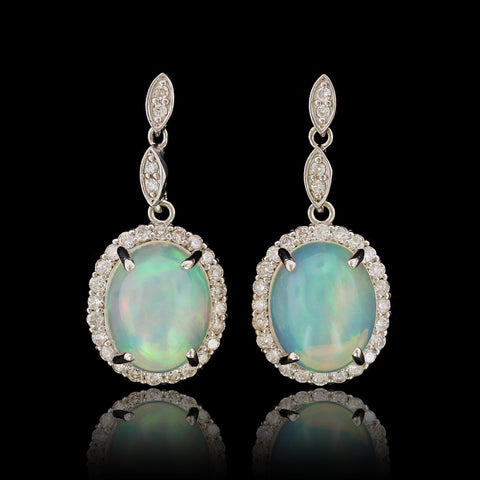 18K White Gold Estate Opal and Diamond Earrings