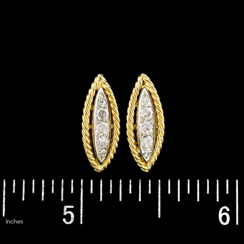 18K Two-tone Gold Estate Diamond Earrings