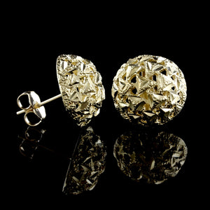 14K Yellow Gold Estate Button Earrings