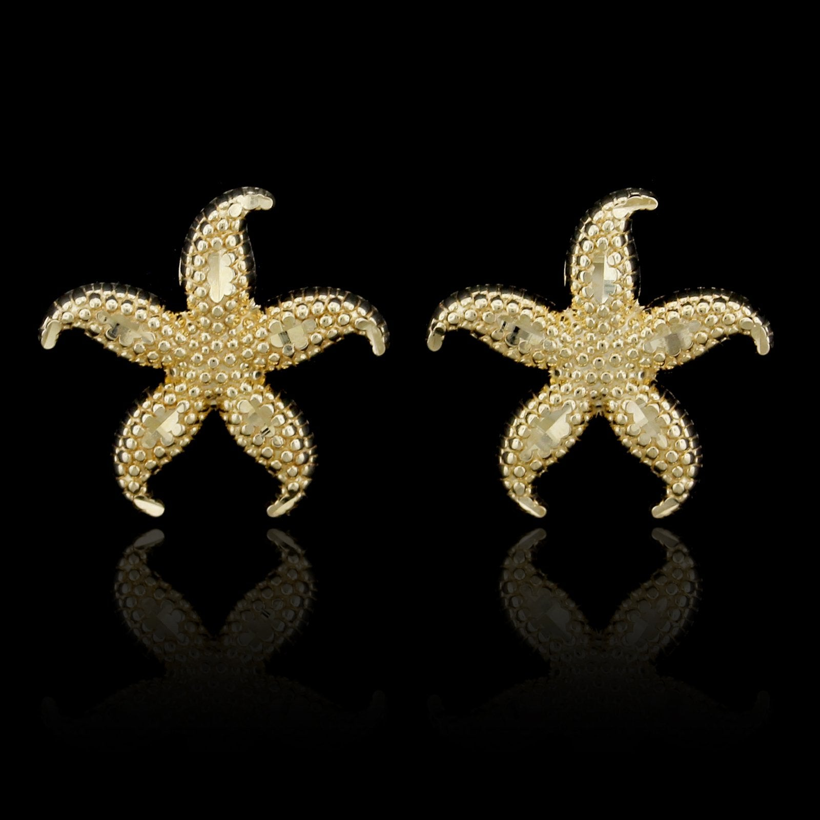14K Yellow Gold Estate Starfish Earrings