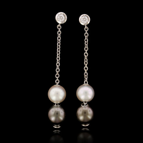 Mikimoto 18K White Gold Estate Cultured Pearl, Cultured Black South Sea Pearl and Diamond Pearls in Motion Earrings