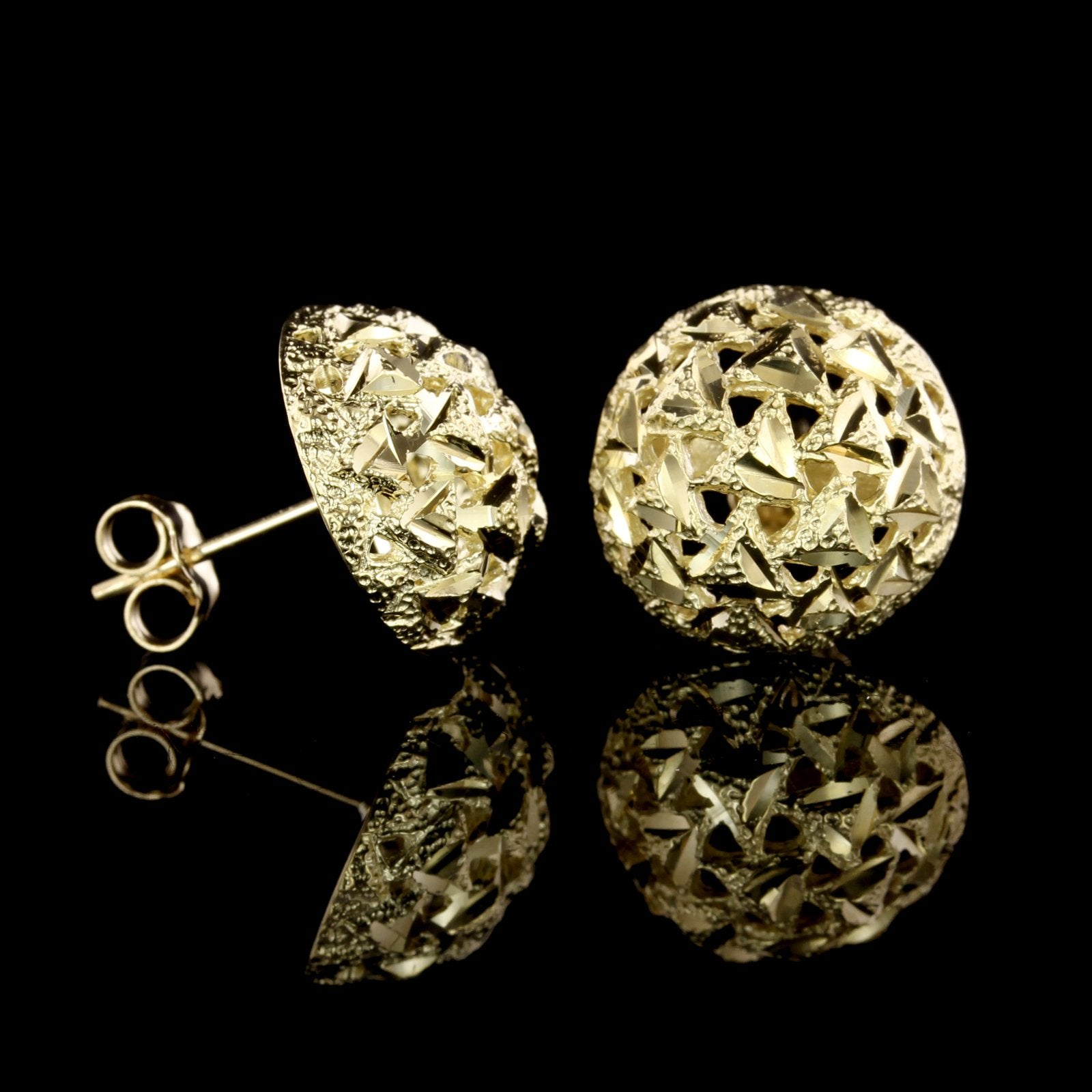 14K Yellow Gold Estate Filigree Dome Earrings