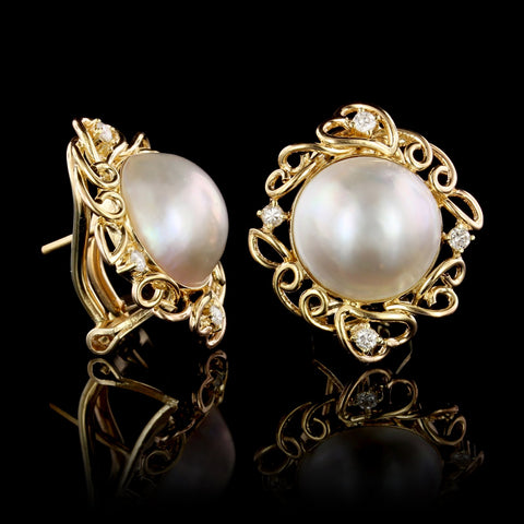 14K Yellow Gold Cultured Mabe Pearl and Diamond Earrings