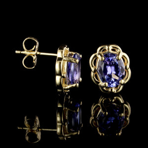 14K Yellow Gold Estate Tanzanite Earrings