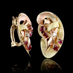 Retro 14K Yellow and Rose Gold Estate Ruby and Diamond Earrings