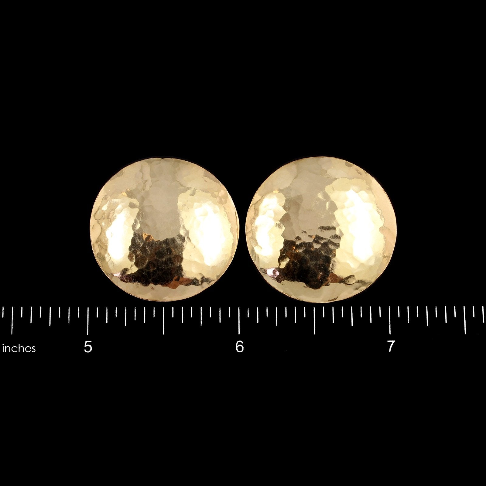 14K Yellow Gold Estate Hammered Disk Earrings
