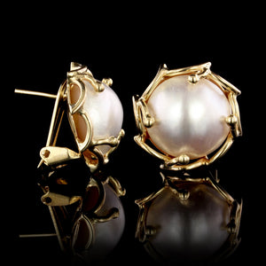 14K Yellow Gold Estate Cultured Mabe Pearl Earrings