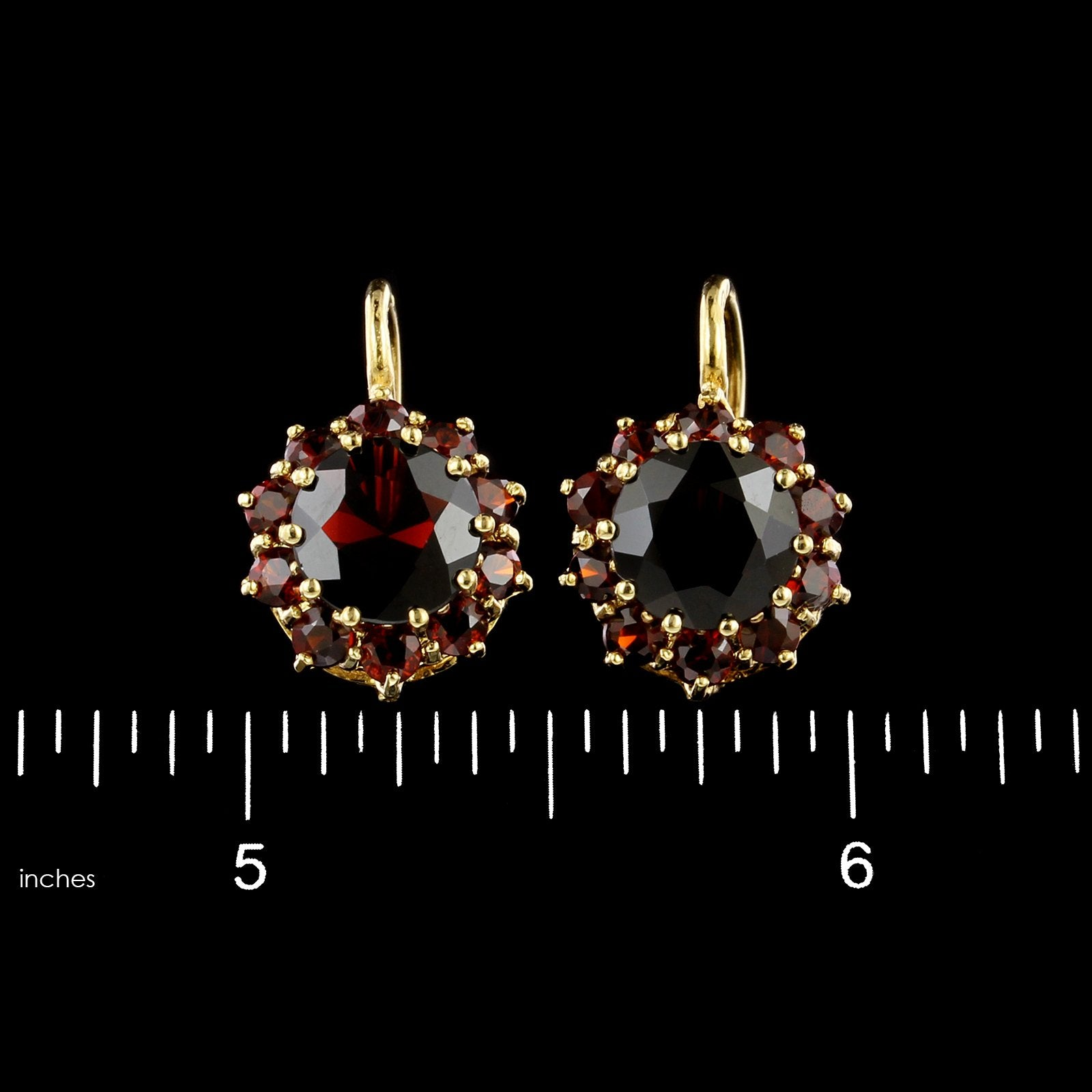 14K Yellow Gold Estate Garnet Cluster Earrings