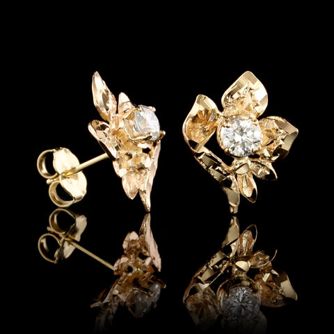 18K Yellow Gold Estate Diamond Flower Earrings