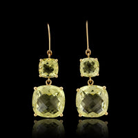 14K Yellow Gold Estate Green Quartz Earrings
