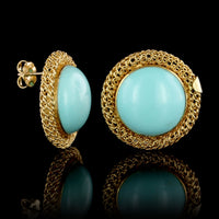 18K Yellow Gold Estate Turquoise Earrings