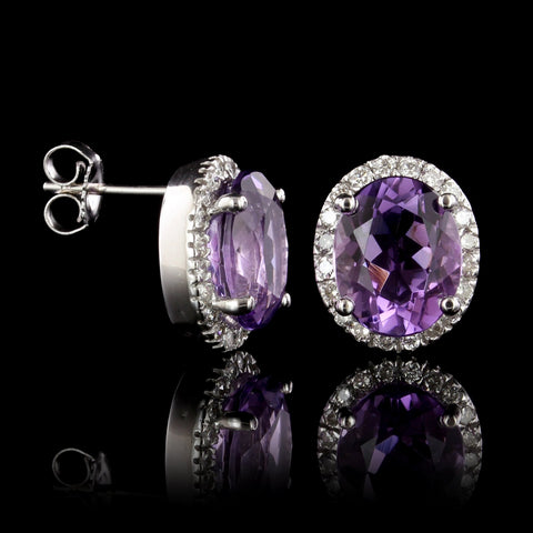14K White Gold Estate Amethyst and Diamond Earrings