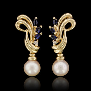 14K Yellow Gold Estate Cultured Pearl, Sapphire and Diamond Earrings