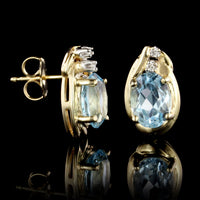 14K Yellow Gold Estate Blue Topaz and Diamond Earrings