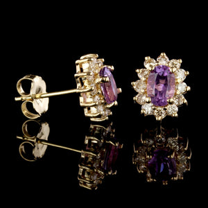 14K Yellow Gold Estate Amethyst and Diamond Earrings