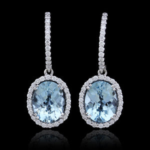 18K White Gold Estate Aquamarine and Diamond Earrings