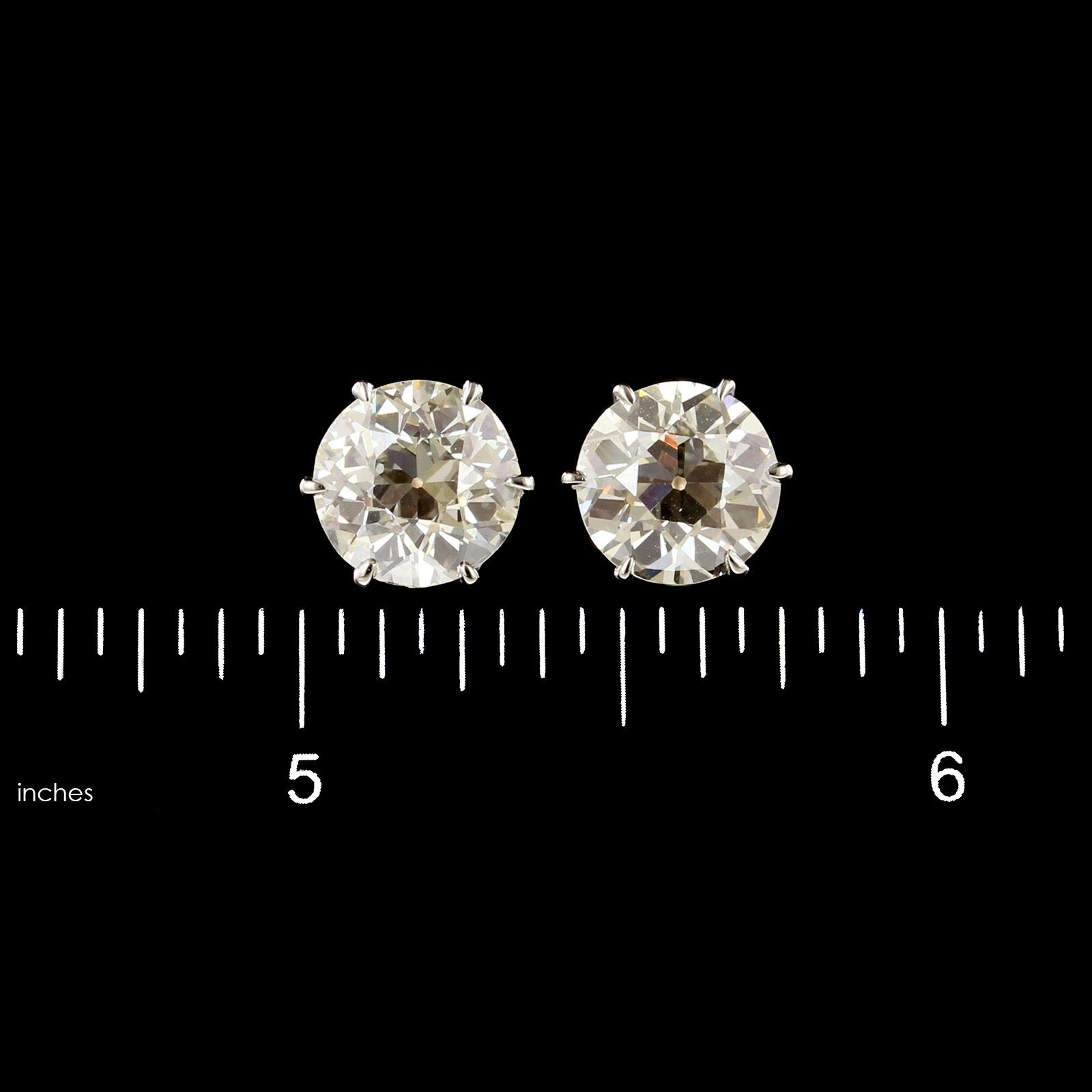 Antique Platinum and 14K Yellow Gold Estate Diamond Studs