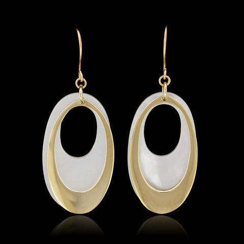 14K Yellow Gold Estate Mother of Pearl Drop Earrings