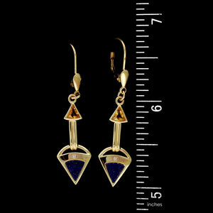 14K Yellow Gold Estate Lapis, Citrine and Diamond Drops