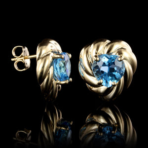 14K Yellow Gold Estate Blue Topaz Earrings