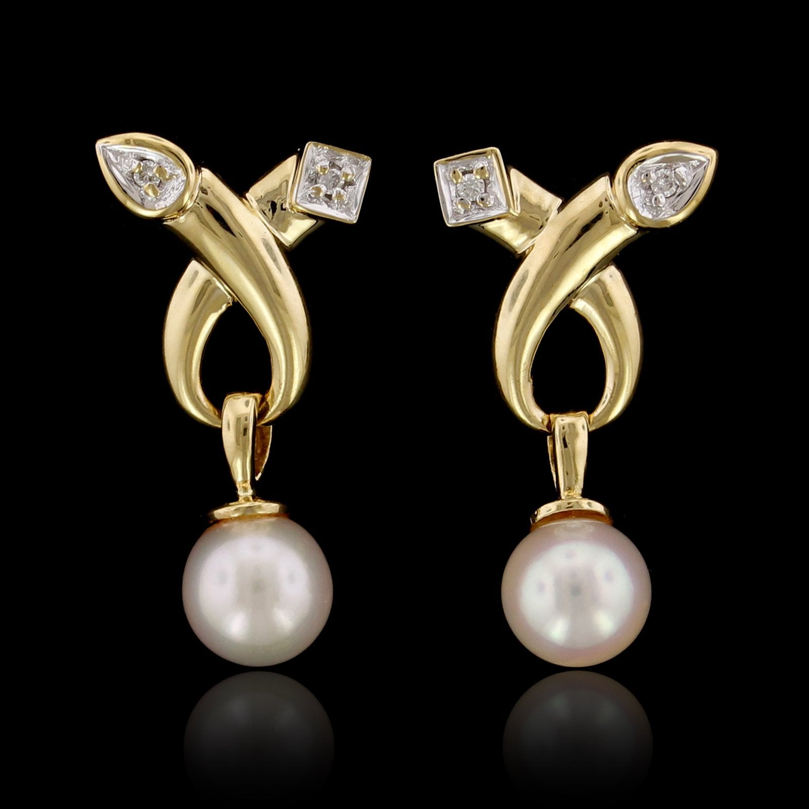 14K Yellow Gold Estate Cultured Pearl and Diamond Earrings