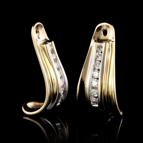 14K Yellow Gold Estate Diamond Earring Jackets