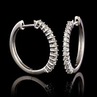 14K White Gold Estate Diamond Hoops