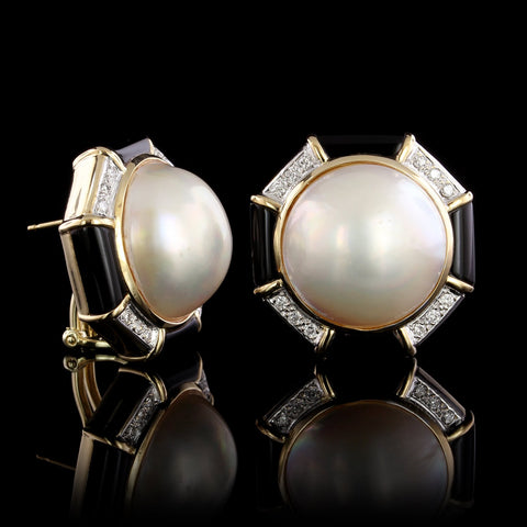 14K Yellow Gold Estate Cultured Mabe Pearl, Onyx and Diamond Earrings