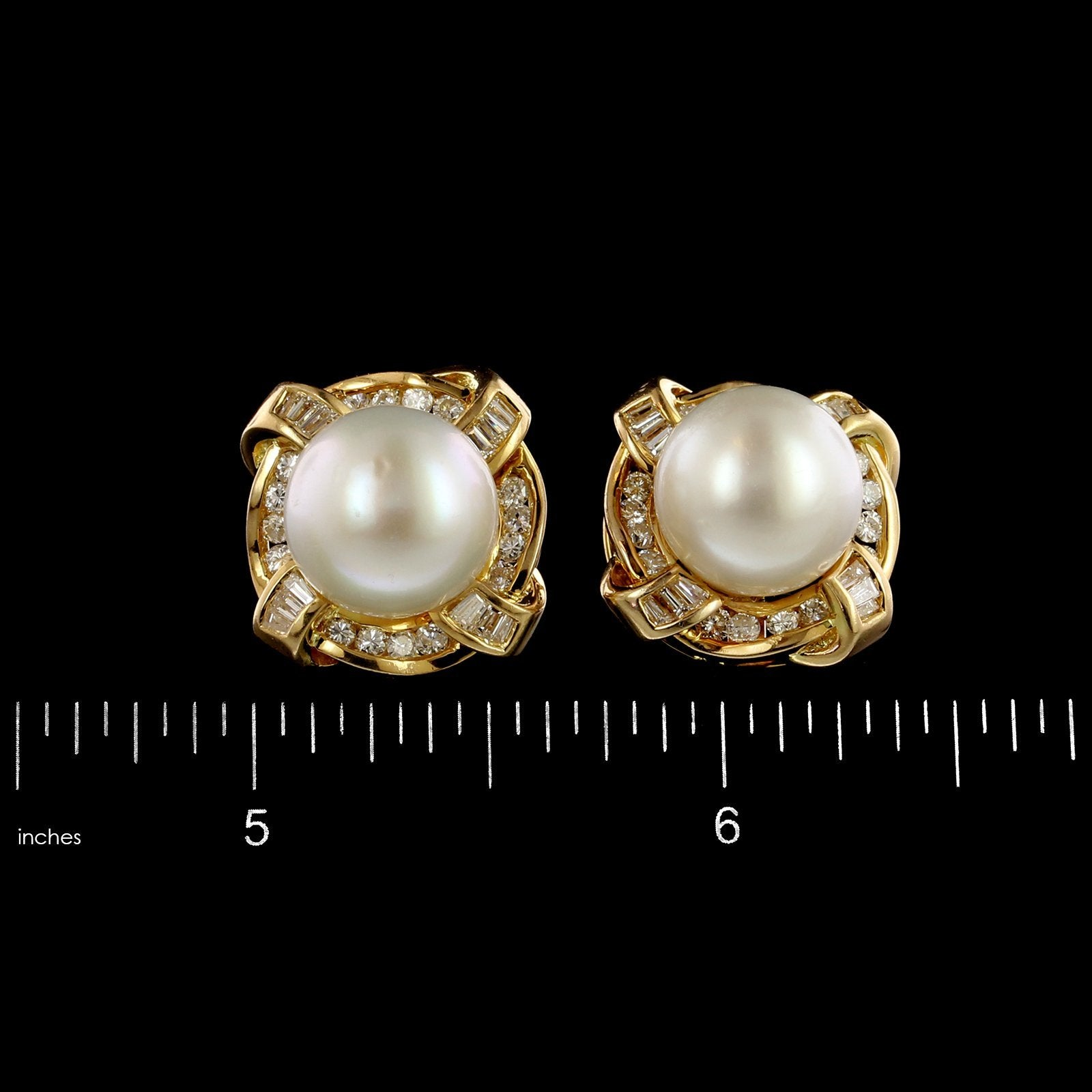 18K Yellow Gold Estate Cultured South Sea Pearl and Diamond Earrings