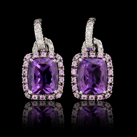 18K White Gold Estate Amethyst, Pink Sapphire and Diamond Earrings