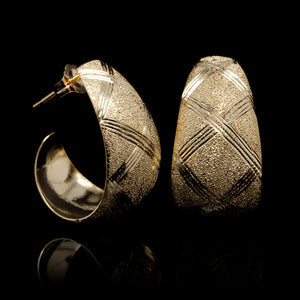 14K Yellow Gold Estate Textured Earrings