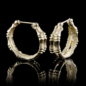 14K Yellow Gold Estate Bamboo Hoop Earrings