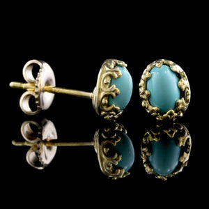 14K Yellow Gold Estate Turquoise Stud Earrings