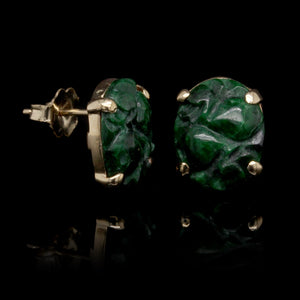 14K Yellow Gold Estate Carved Jade Studs