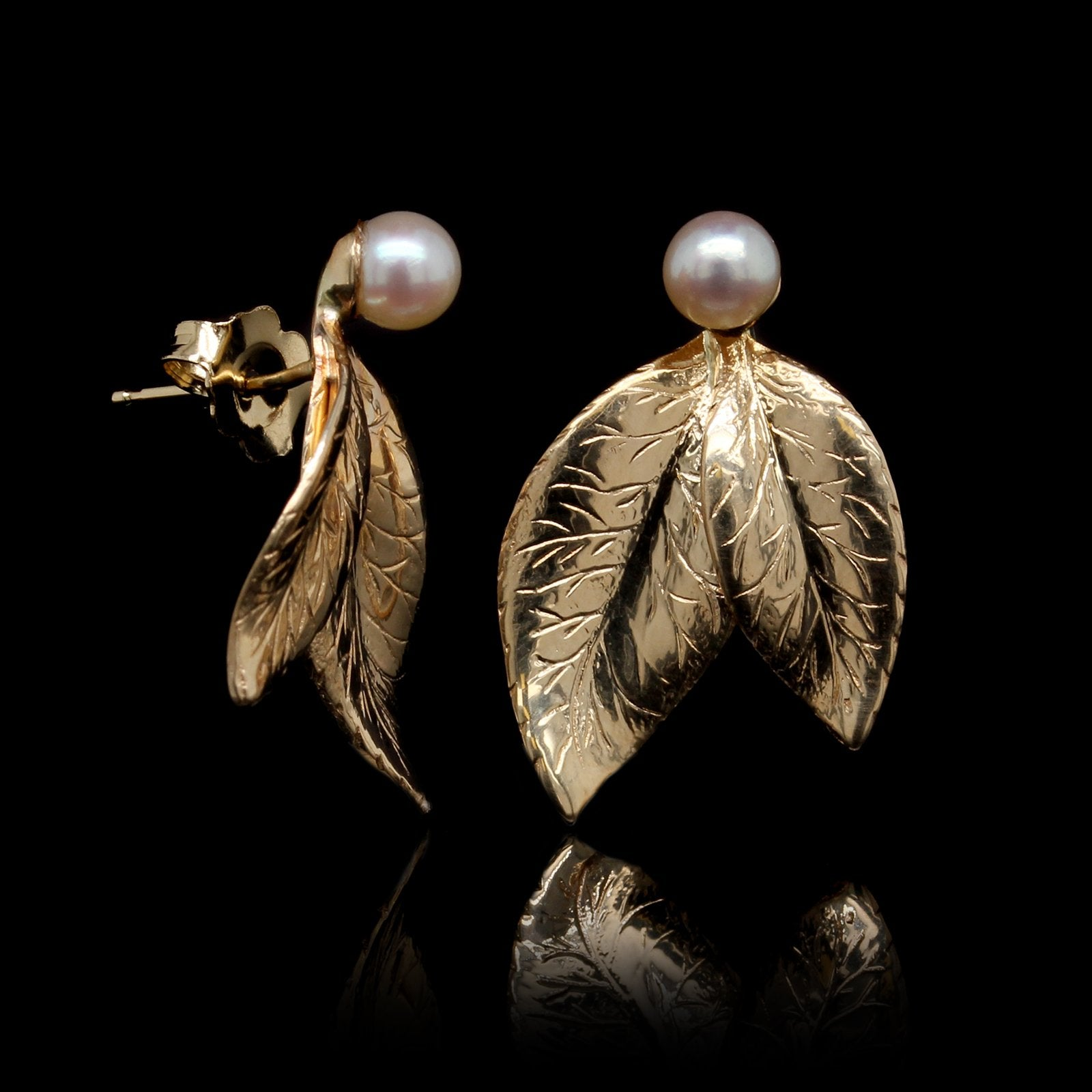 14K Yellow Gold Cultured Pearl Leaf Earrings