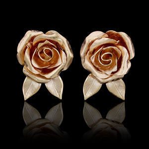 14K Yellow Gold Rose Flower Earrings
