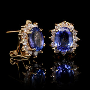 14K Yellow Gold Estate Tanzanite and Diamond Earrings
