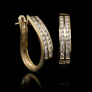 14K Yellow Gold Estate Diamond Two Row Hoops