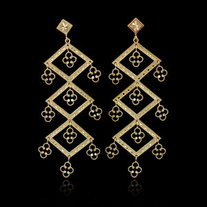 14K Yellow Gold Estate Diamond Cut Drop Earrings