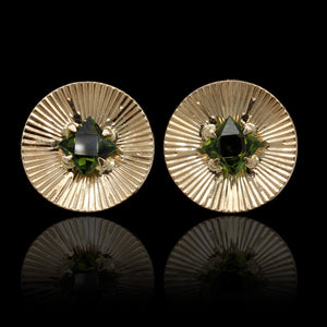 14K Yellow Gold Estate Green Tourmaline Earrings